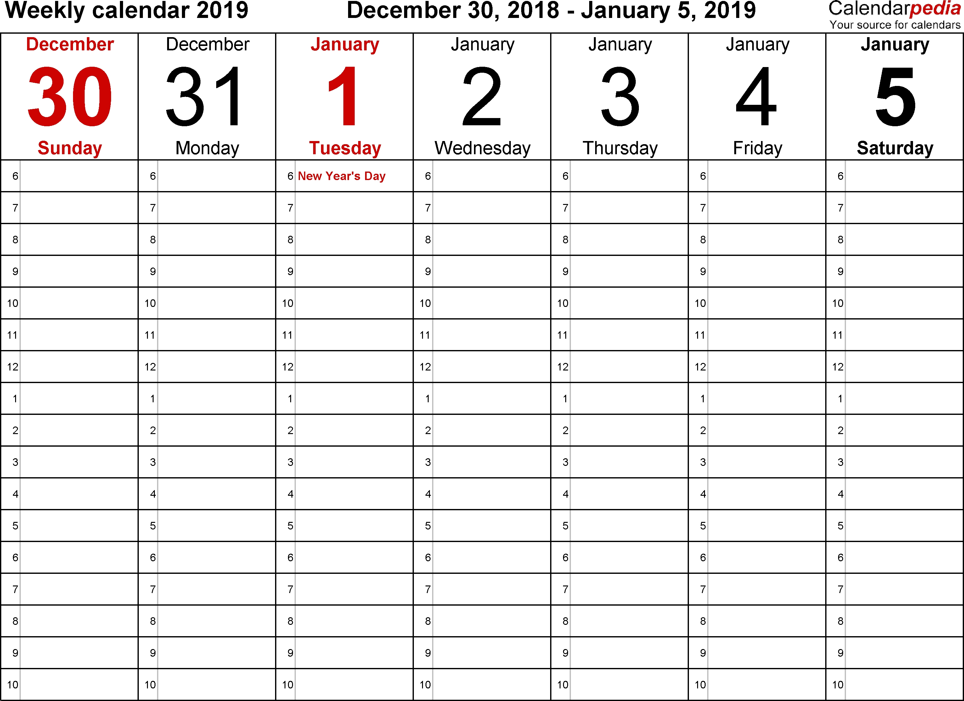 Weekly Calendar 2019 For Word - 12 Free Printable Templates-Calendar Template No Weekends