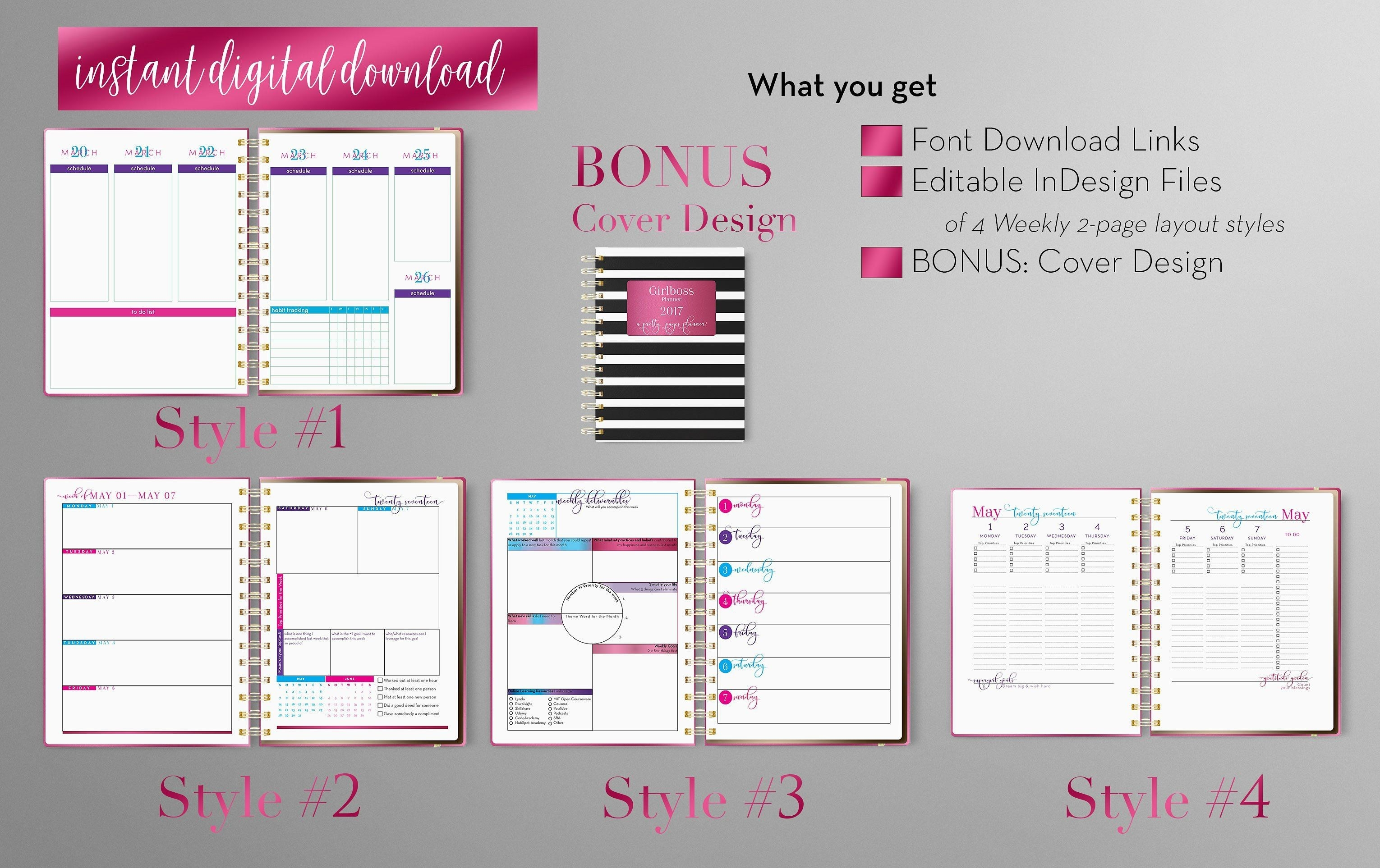 Weekly Calendar | Indesign Template By Indesign Templates On-Planner Templates For Indesign