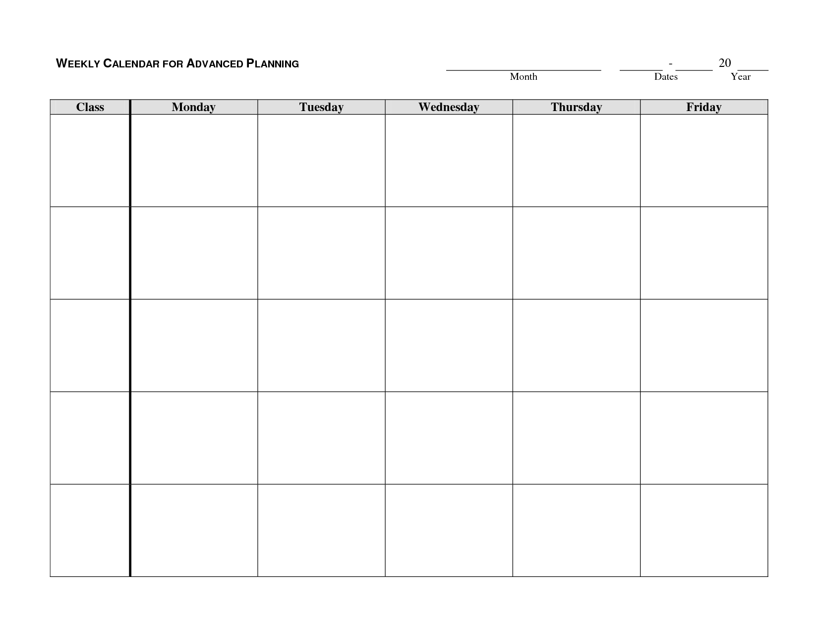 Weekly Calendar Template - Google Search | Autism/school-Blank Monday Through Friday Template