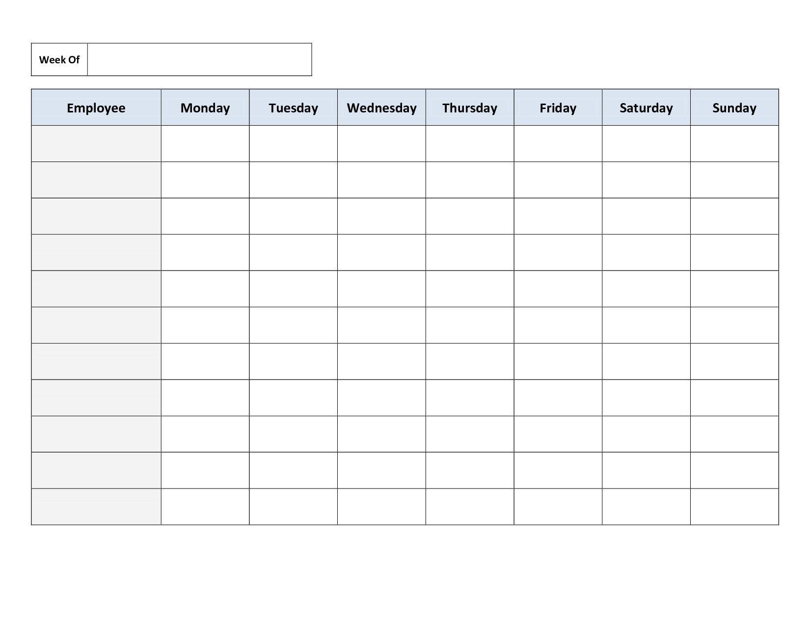 Weekly Employee Work Schedule Template. Free Blank Schedule-Shift Planner Templates Printable