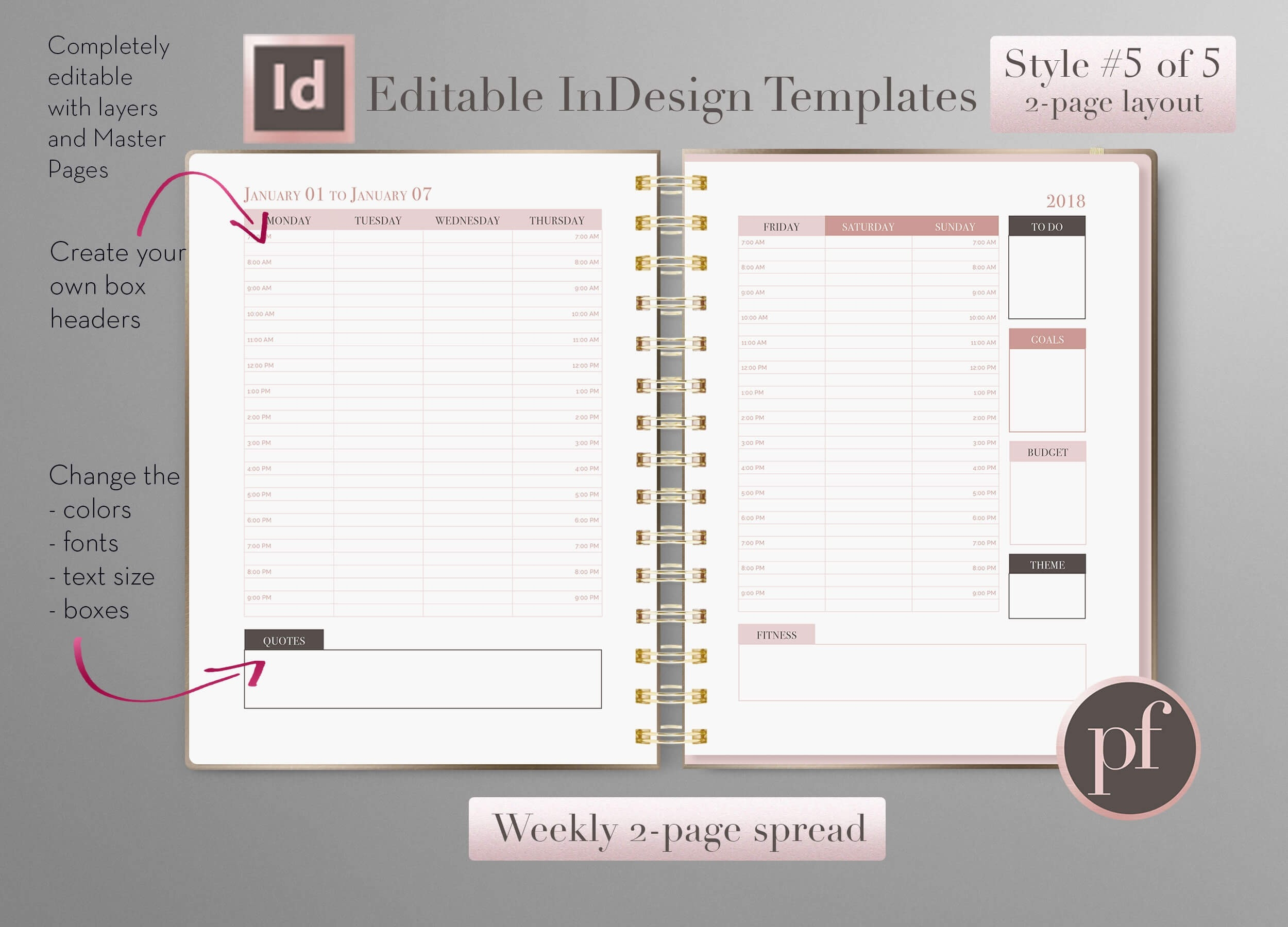 Weekly Layout - Pretty Fabulous Designs-Planner Templates For Indesign
