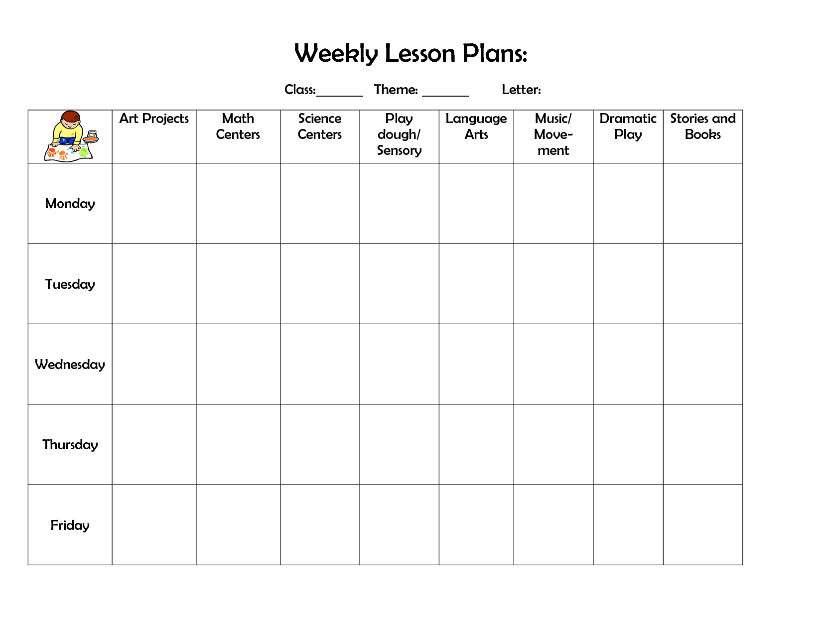 Weekly Lesson Plan | Lesson Plan Template | Preschool Lesson-Daycare Weekly Lesson Plan Template