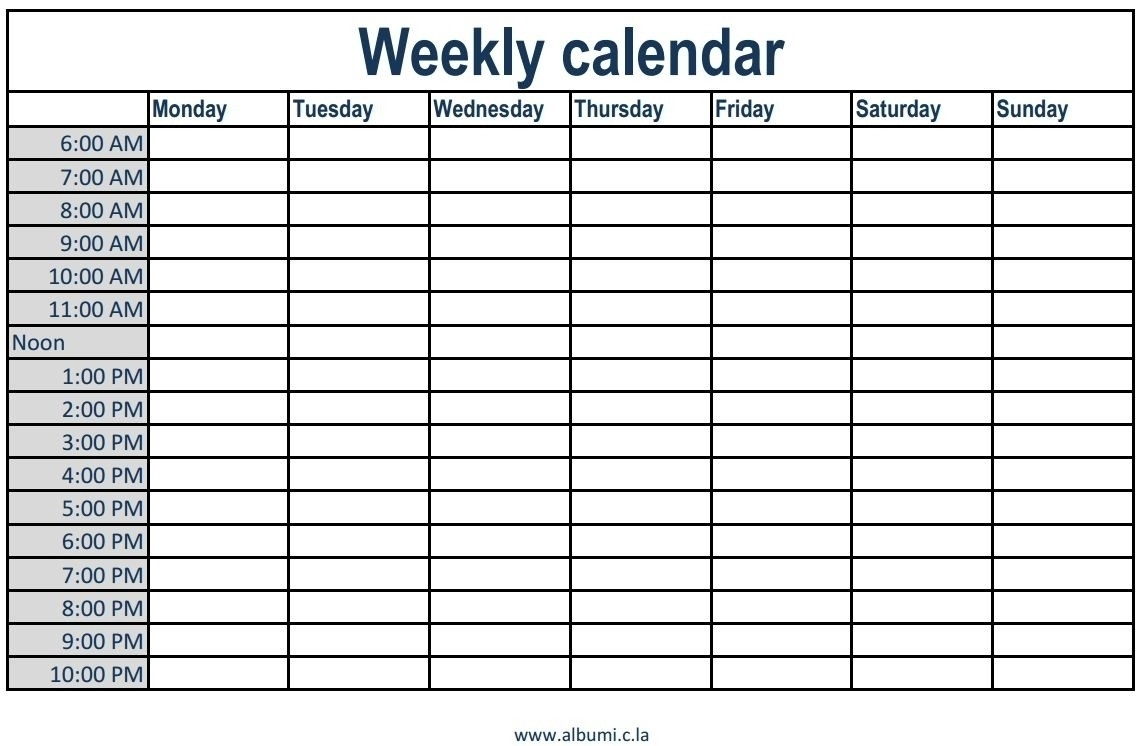 Weekly Schedule With Blank Time Slots | Calendar Printing-Monday-Friday Blank Weekly Schedule
