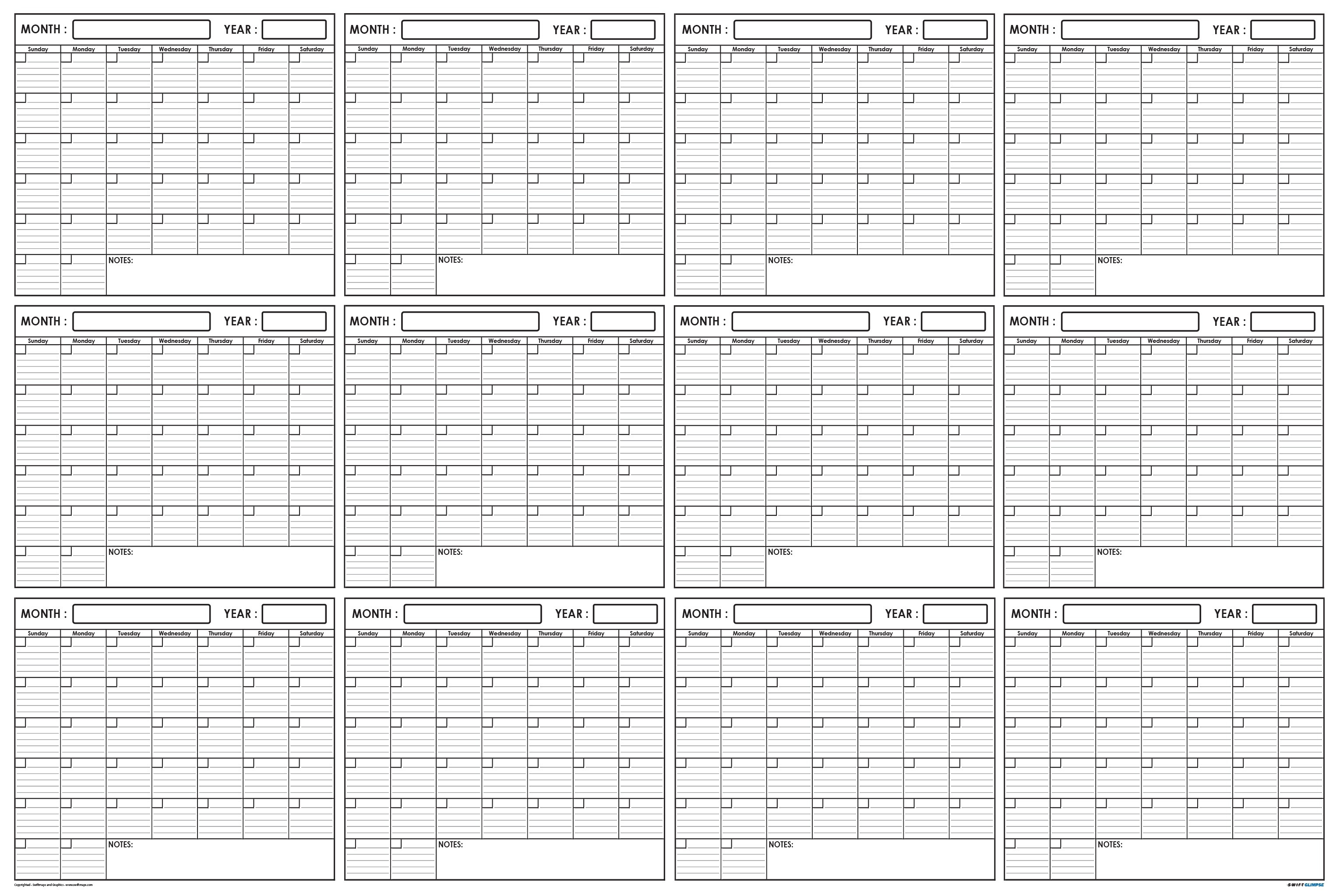 Xlarge Yearly Wet & Dry Erase Blank Reusable Undated Wall Calendar Planner  For Office Academic Home 12-Month Project Calendar-Beach Calendar With Blanks