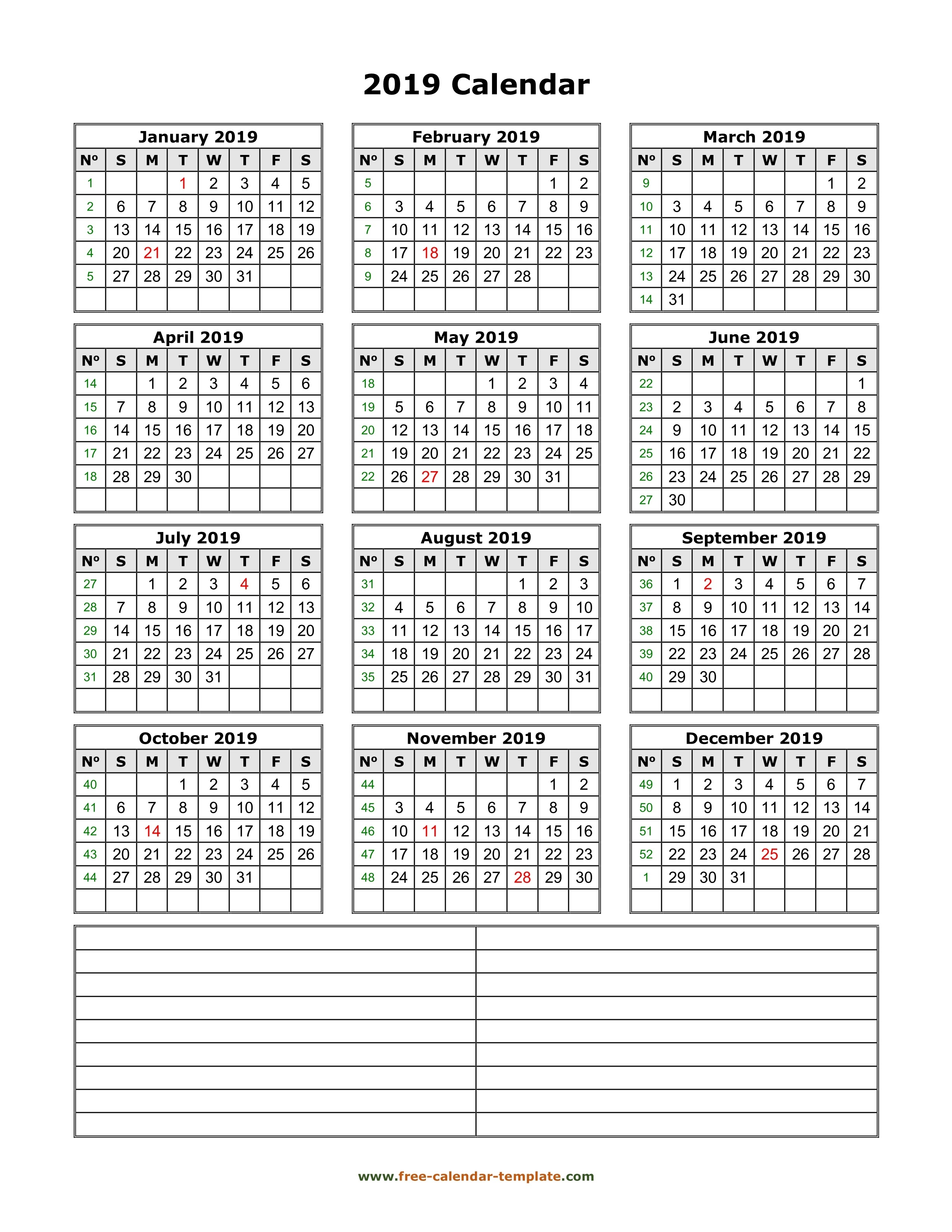 Yearly 2019 Printable Calendar With Space For Notes   Free-Printable Calendar Template With Notes