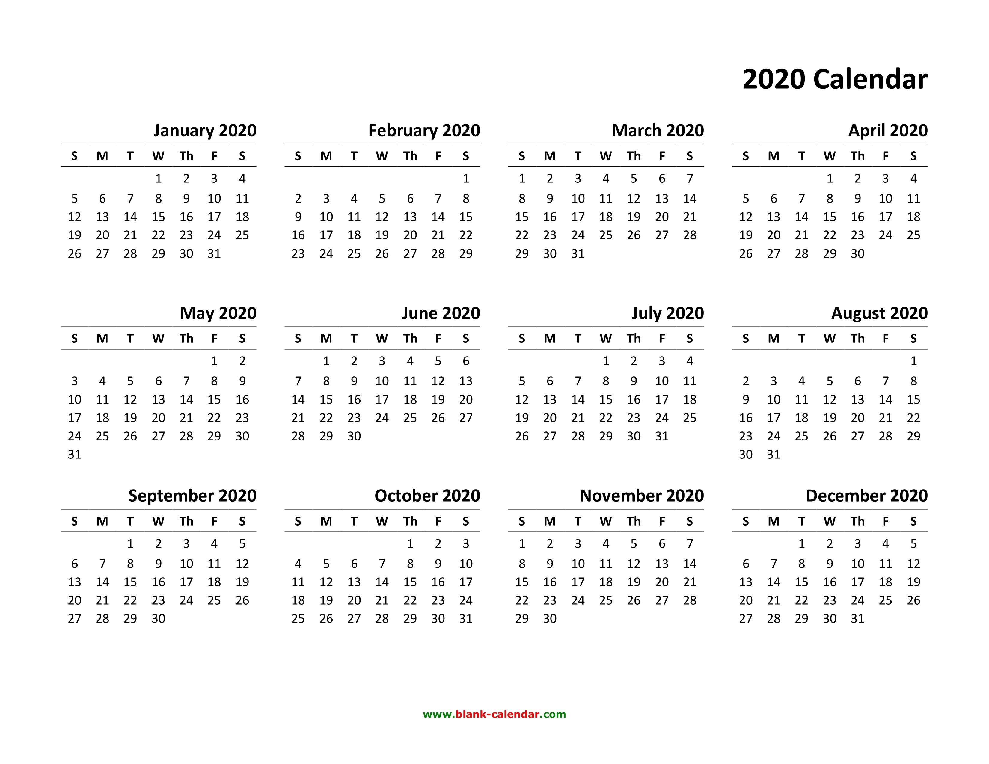 Yearly Calendar 2020 | Free Download And Print-Blank W 9 2020