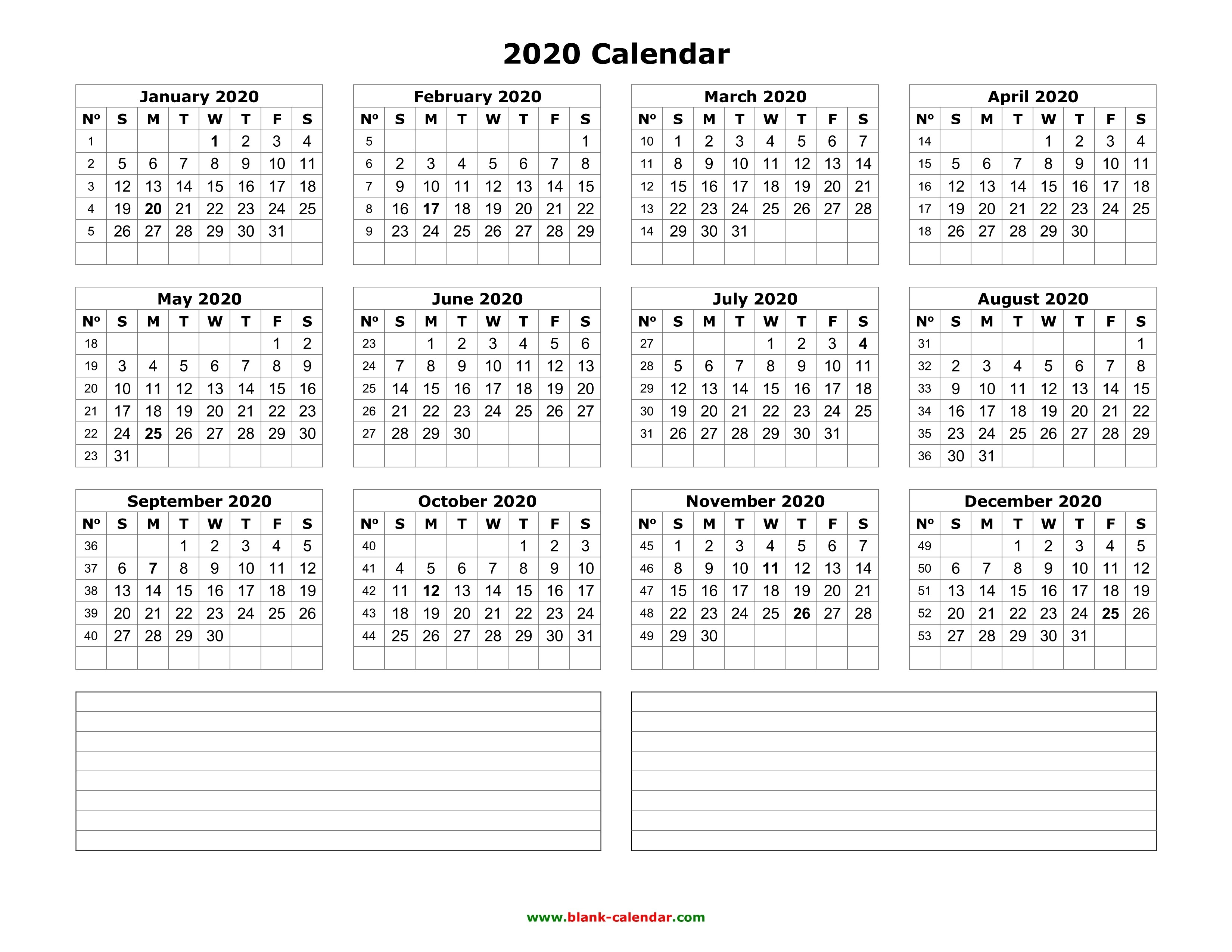 Yearly Calendar 2020 | Free Download And Print-Blank W 9 To Print 2020