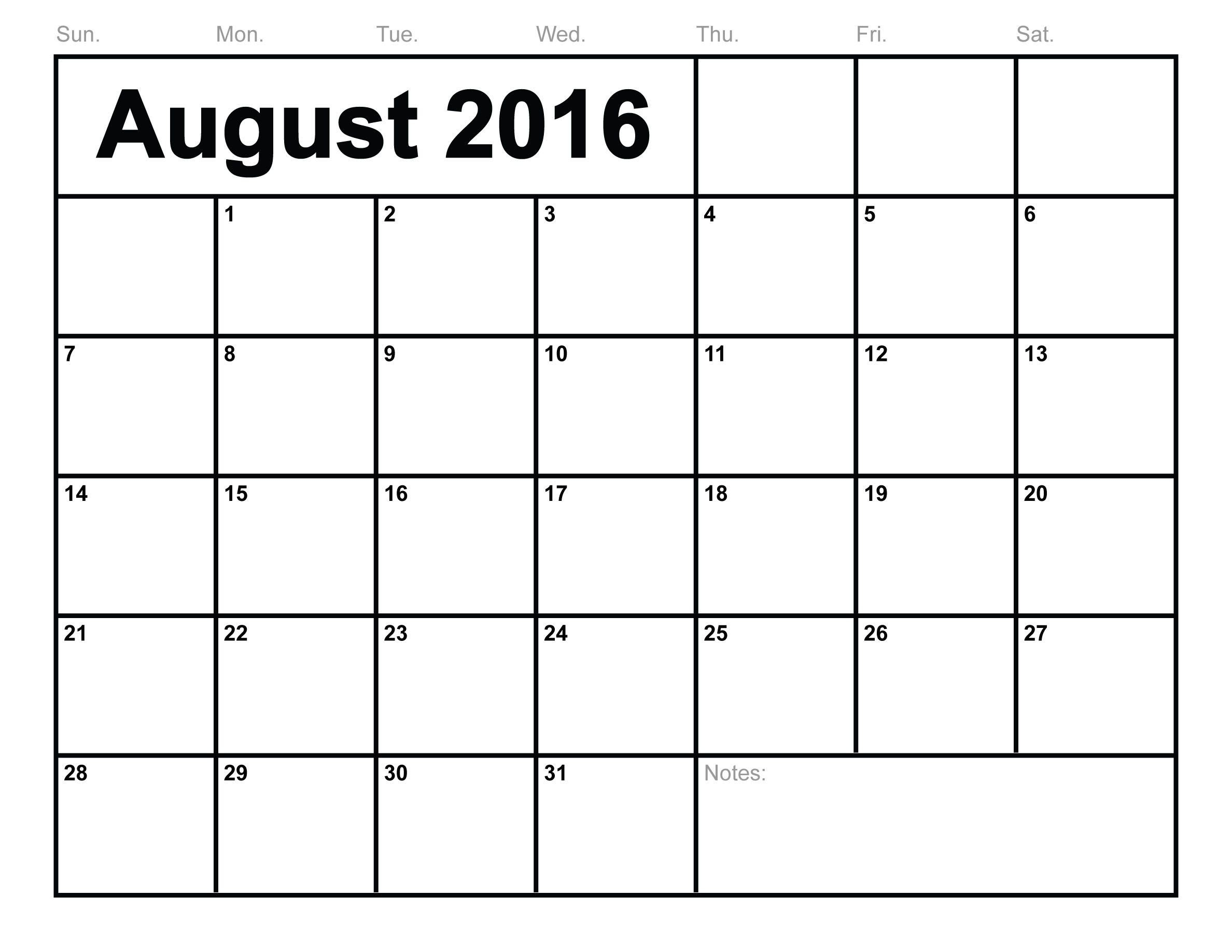 You Can Download August 2016 Calendar Template, Printable In-Free Calendar Template Printable 201