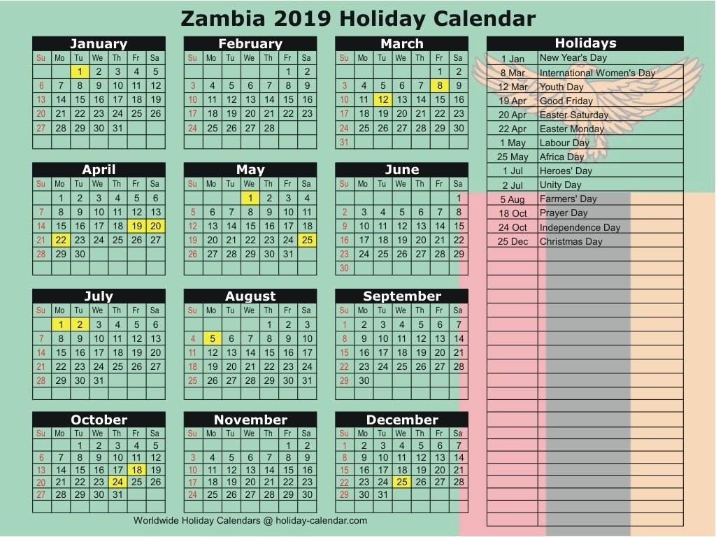 Zambia 2019 / 2020 Holiday Calendar-Sa 2020 Public Holidays