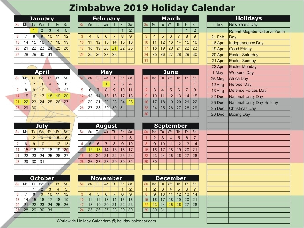 Zimbabwe 2019 / 2020 Holiday Calendar-School Calendar 2020-Holidays In South Africa 2020