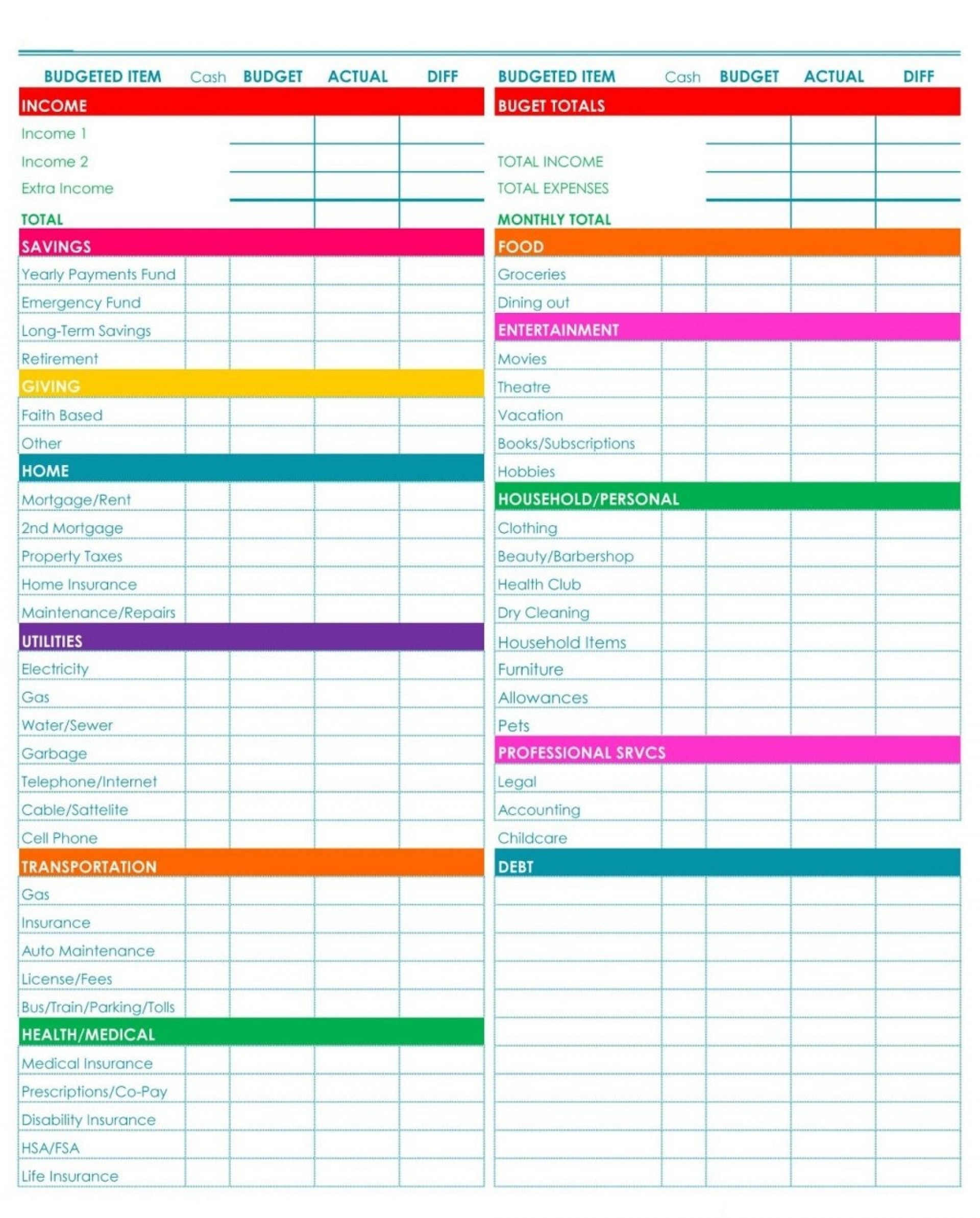 005 Household Budget Template Printable Uk Ideas Free-Bill Planner Template Printable Calendar