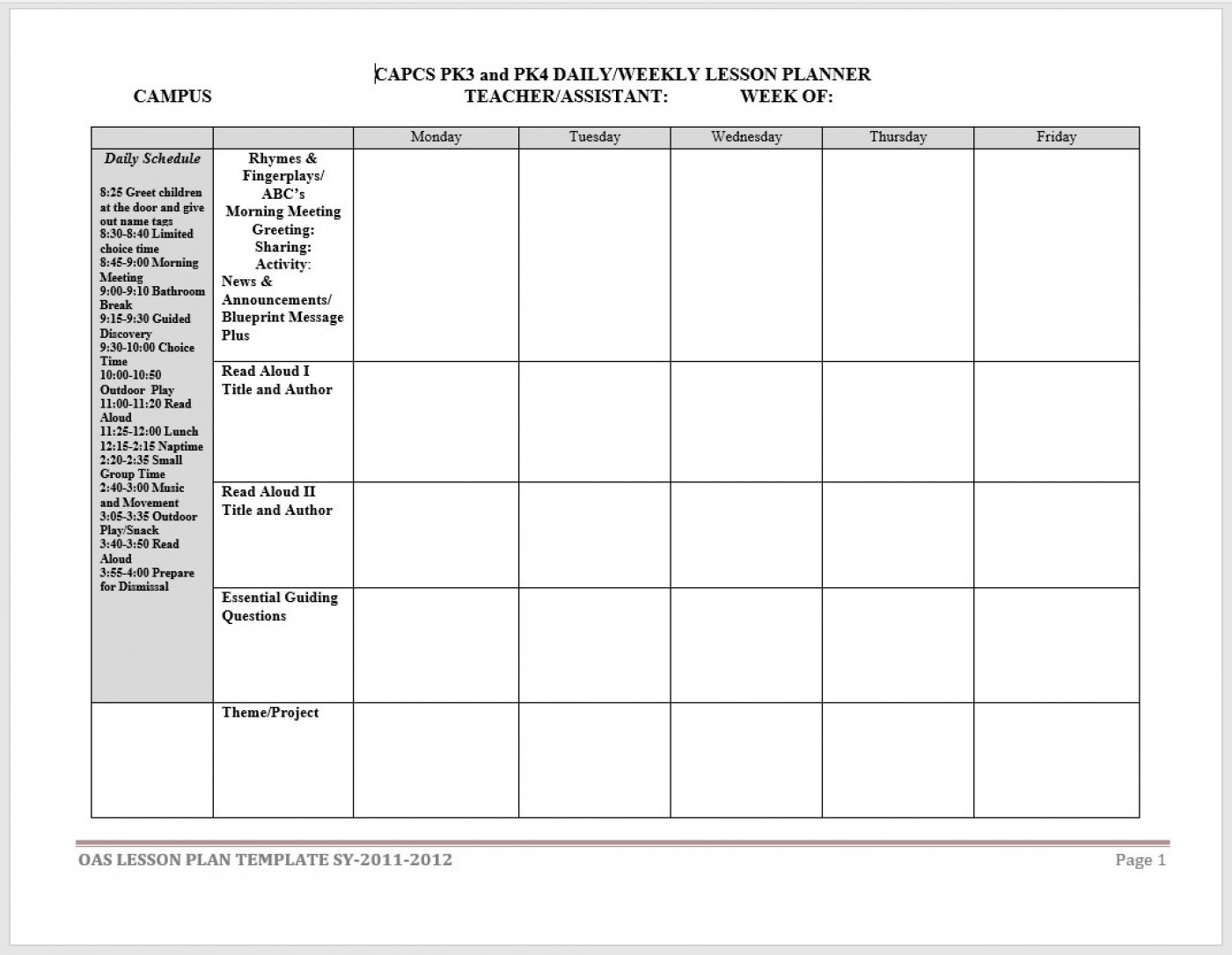011 Free Printable Weekly Lesson Plan Template Teacher-Calendar Lesson Plan Template