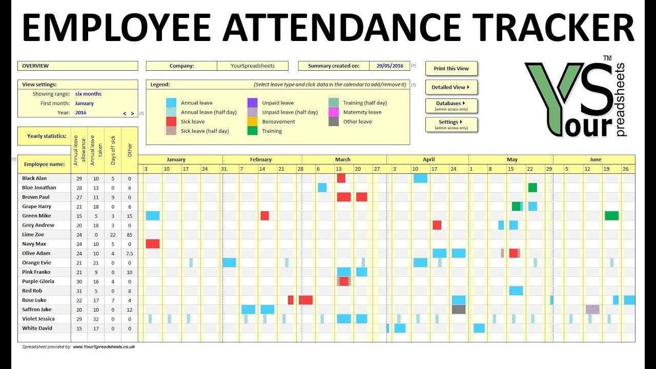 020 Excel Pto Tracker Template Employee Vacation Tracking-Free Employee Attendance 2020 Templates