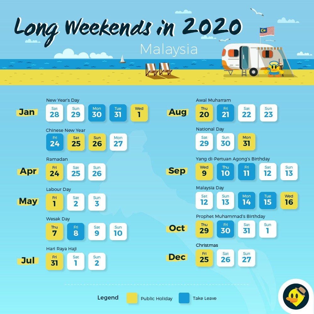 12 Long Weekends In 2019 For Malaysians © Letsgoholiday.my-Calendar 2020 School Holidays Malaysia