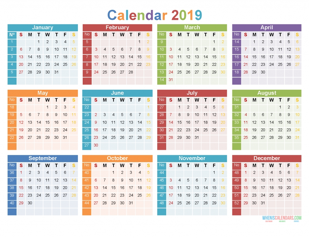12 Month 2019 Calendar Printable On 1 Page [Us Edition-2020 Monthly Calendars To Print With Jewish Holidays