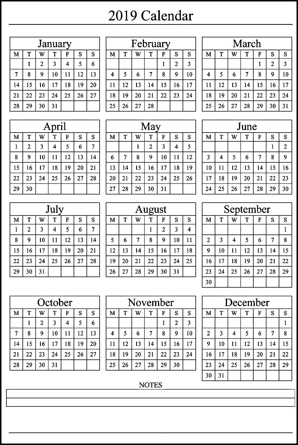12 Month Calendar On One Page #2019Calendar-6 Months On One Page Template