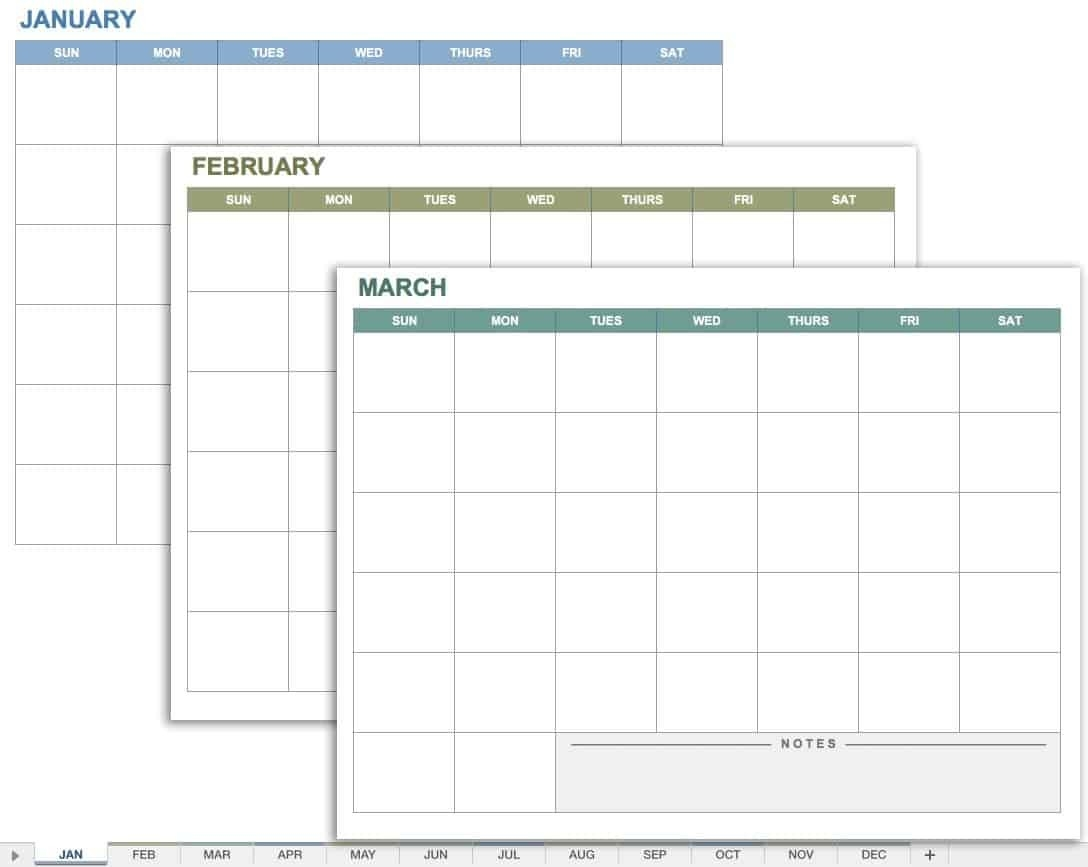 15 Free Monthly Calendar Templates | Smartsheet-Monthly Calendar Google Sheets
