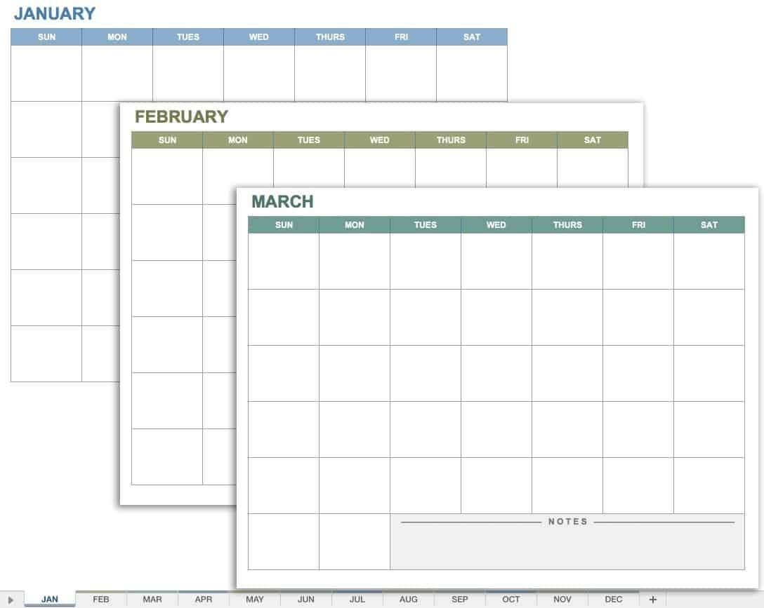 15 Free Monthly Calendar Templates | Smartsheet-School Calendar Template Google Sheets