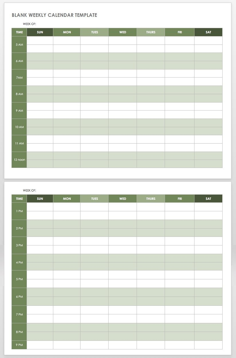 15 Free Weekly Calendar Templates | Smartsheet-Weekly Calendar Template Monday To Friday