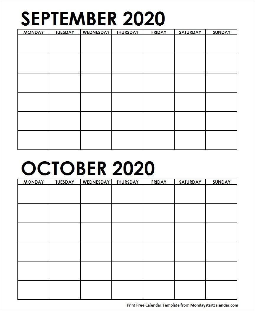 2 Monthly Blank Calendar September October 2020 | Calendar-2 Monthly Printable Calender
