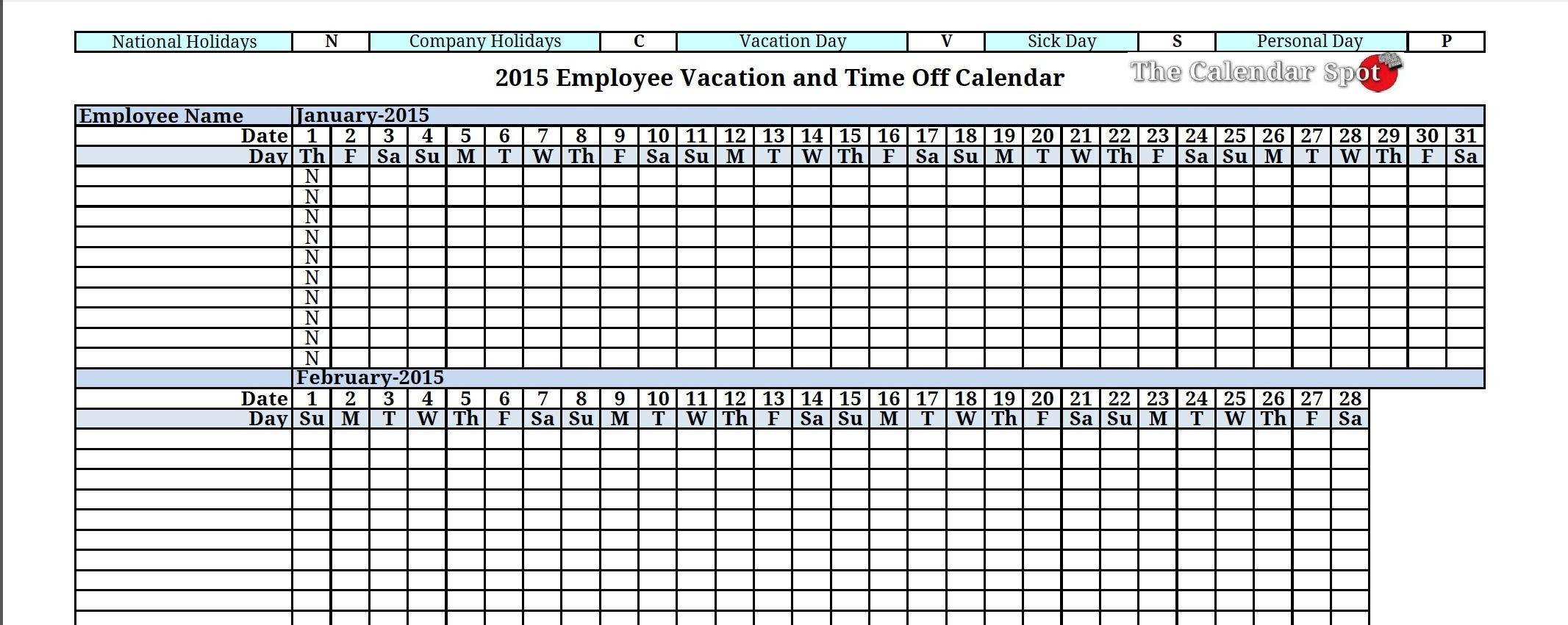 2015 Employee Vacation Absence Tracking Calendar | Vacation-Staff Vacation Calendar Template