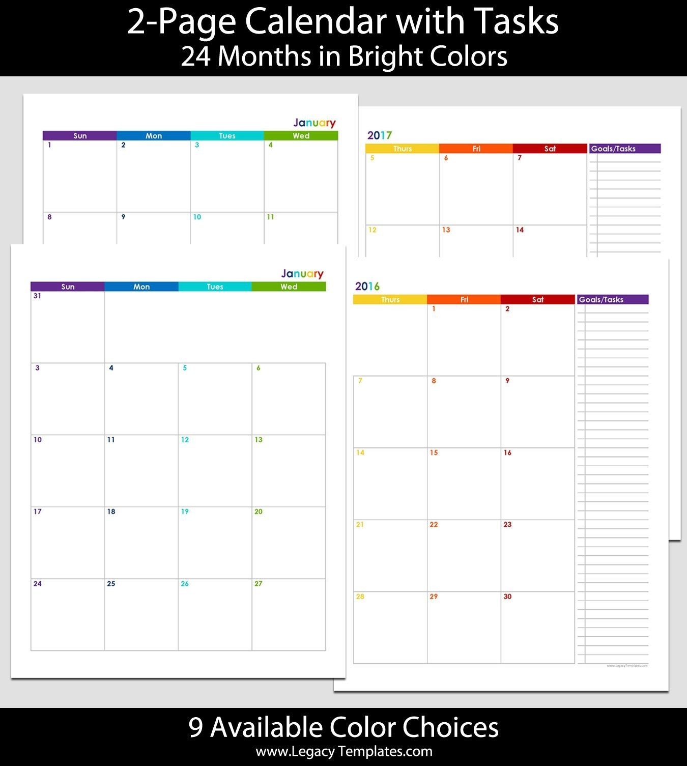 2016 & 2017 24-Month 2-Page Calendar – 8 1/2″ X 11″ | 2016-Free Blank Printable Calendar Template 81/2X11