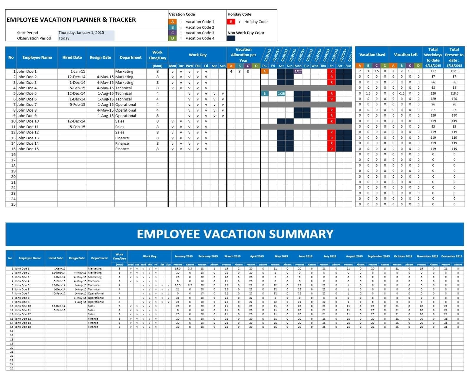 2016 Emploee Vacation Time Off Calendar Excel | Excel-Employee Vacation Calendar Template