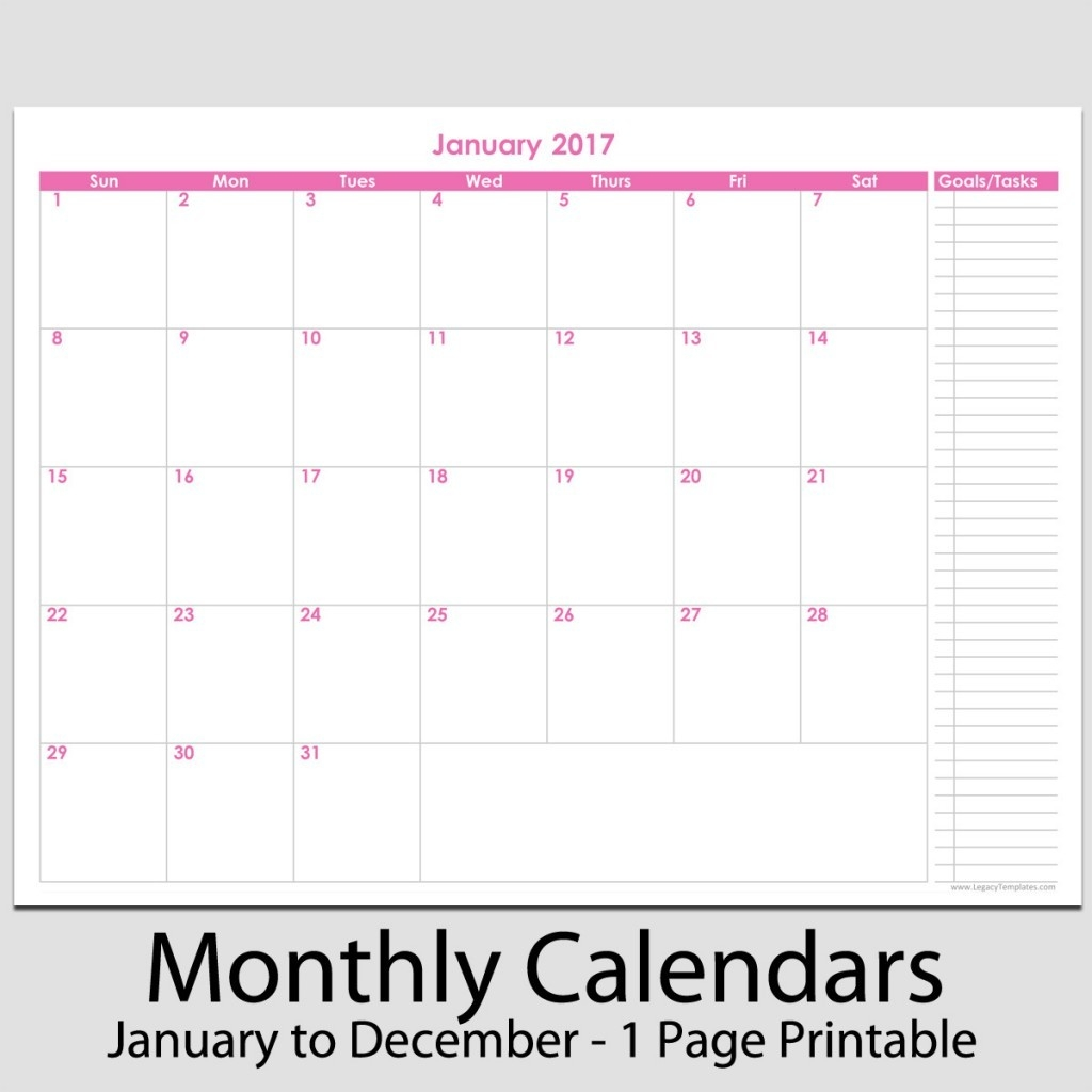 "2017 - 12 Month Calendar With Tasks - 8 1/2"" X 11"" 