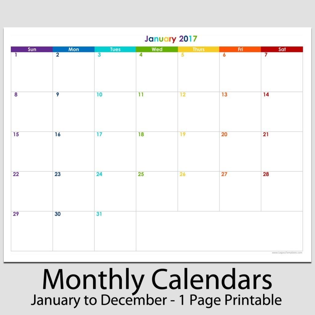 "2017 - 12 Month Landscape Calendar - 8 1/2"" X 11"" | Legacy-Blank Monthly Calendar Printable 8.5 X 11"