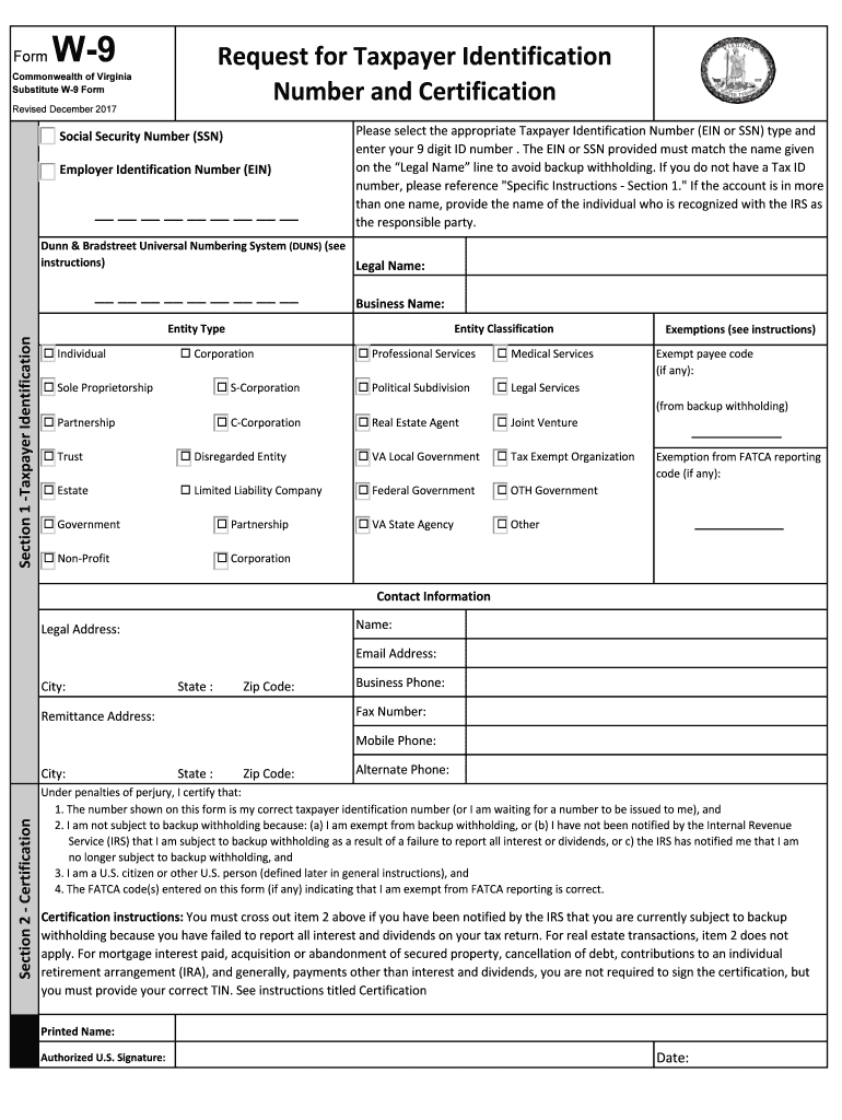 2017-2020 Form Va Substitute W-9 Fill Online, Printable-2020 W 9 Blank Form