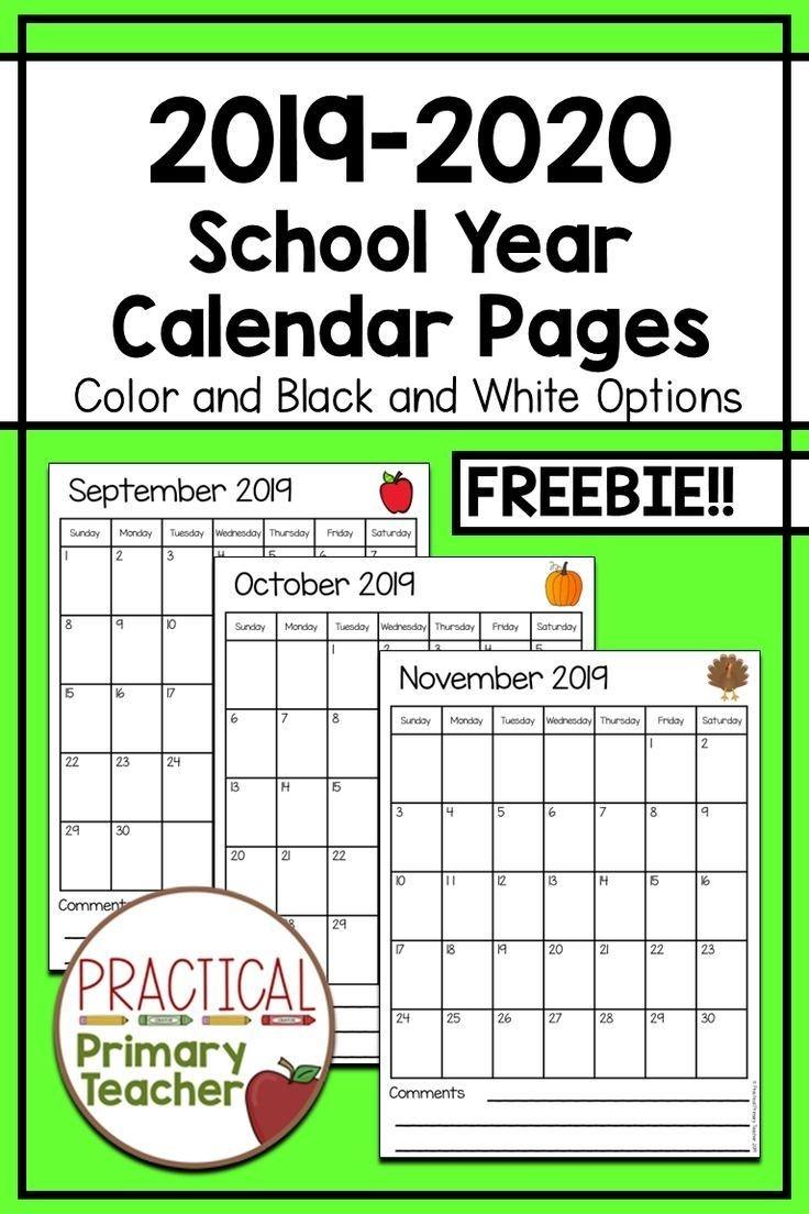 2019-2020 Calendars Free | Classroom Calendar, Teacher-Blank Preschool Class Calendar