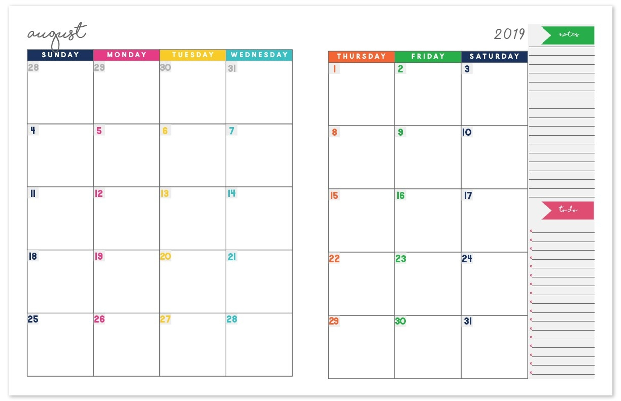 2019-2020 Monthly Calendar Planner | Free Printable Calendar-Free Two Page Monthly Planner Templates