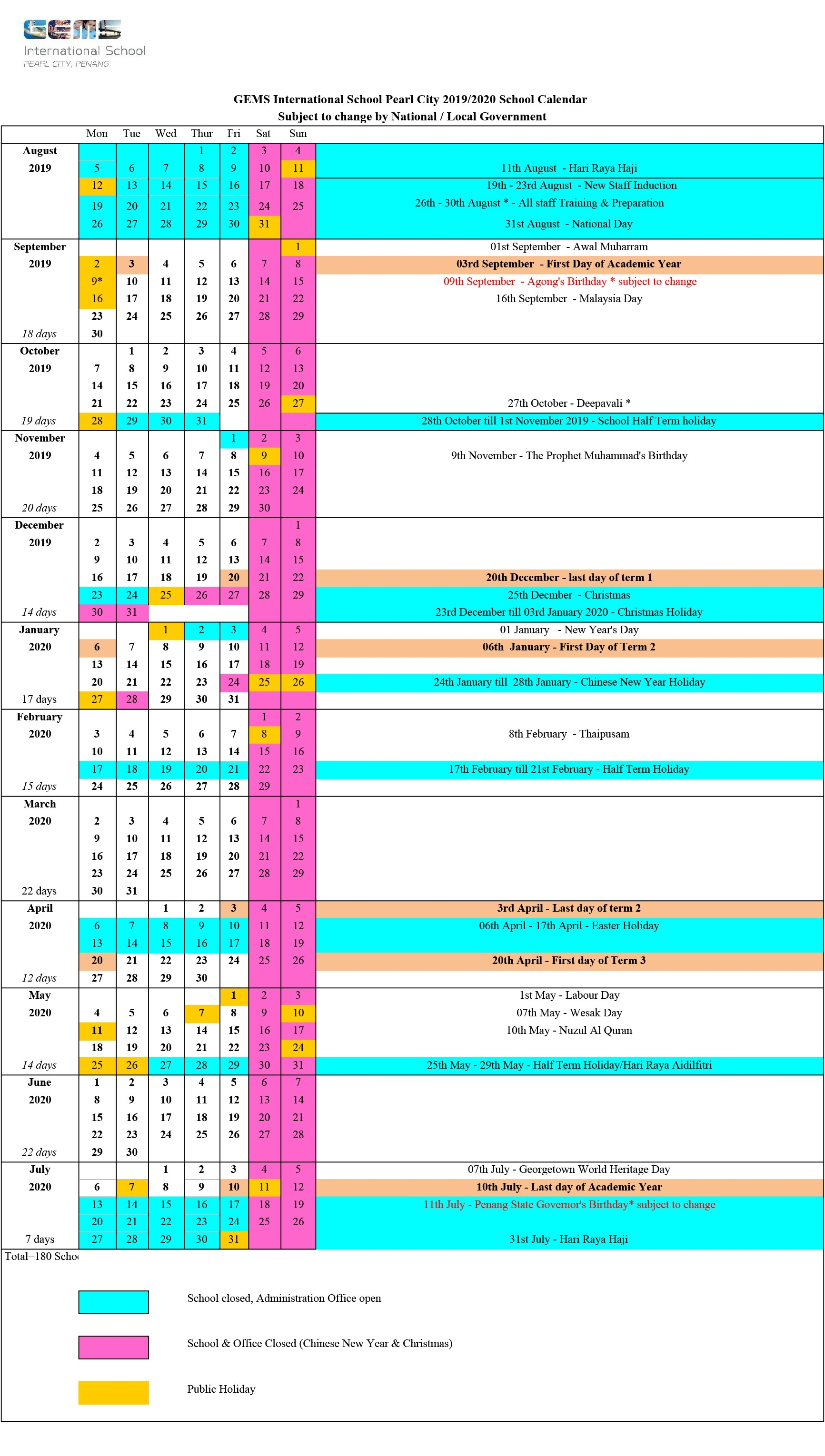 2019/2020 School Calendar - Gems International School-Malaysia School Holidays 2020