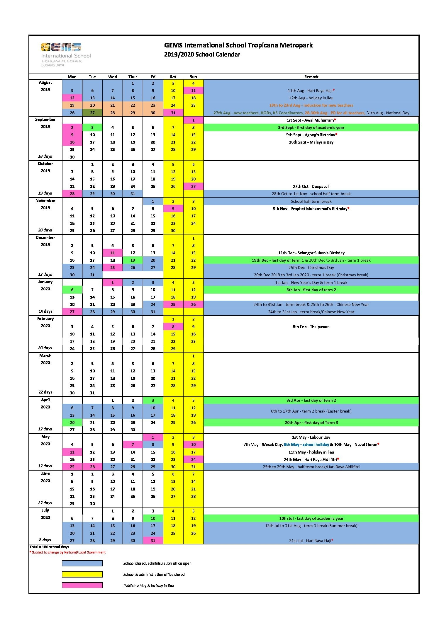 2019/2020 School Calendar - Gems International School Metropark-Malaysia School Holidays 2020