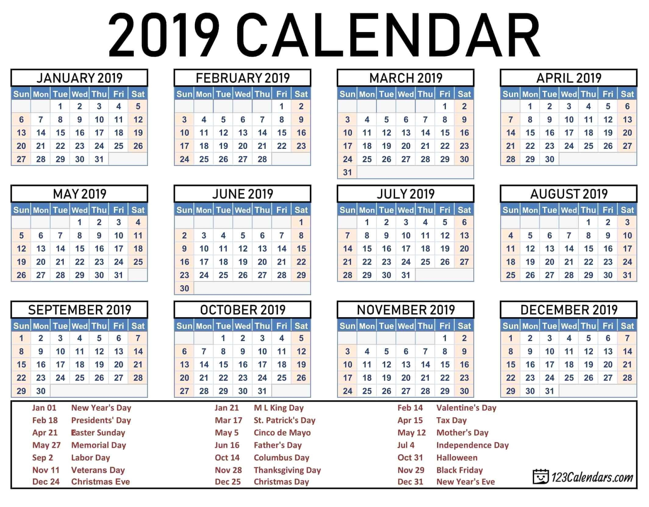 2019 2020 School Year Calendar Template Year 2019 Printable-Printable 2020 Calendar With Holidays Usa