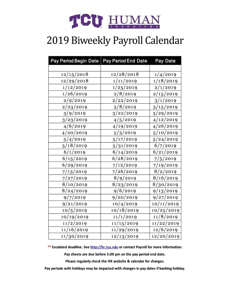 2019 Biweekly Payroll Calendar Template - Fill Online-Bi Week Friday Payroll Schedule 2020 Template