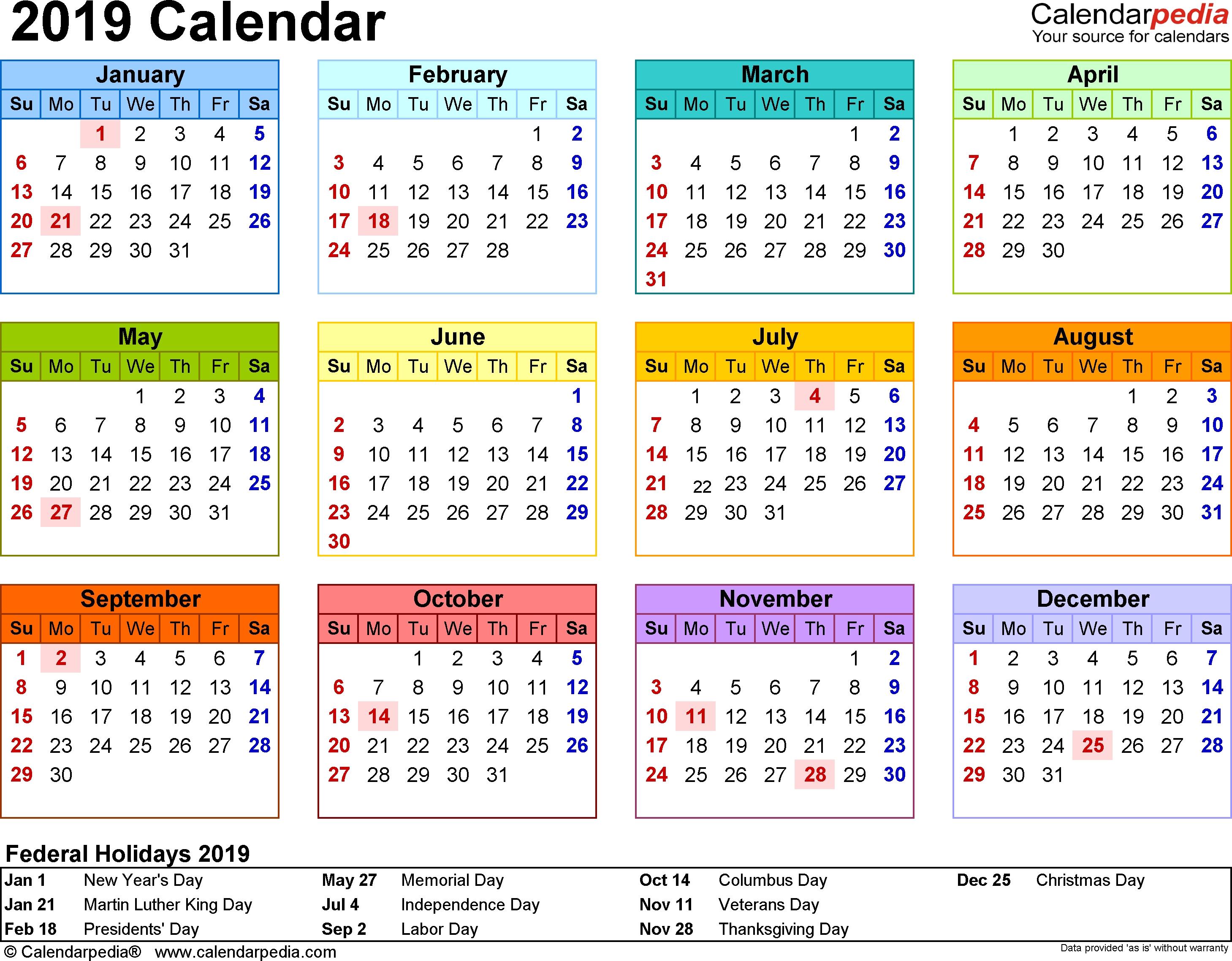 2019 Calendar - 18 Free Printable Word Calendar Templates-Calendar Templates 3Months Per Page