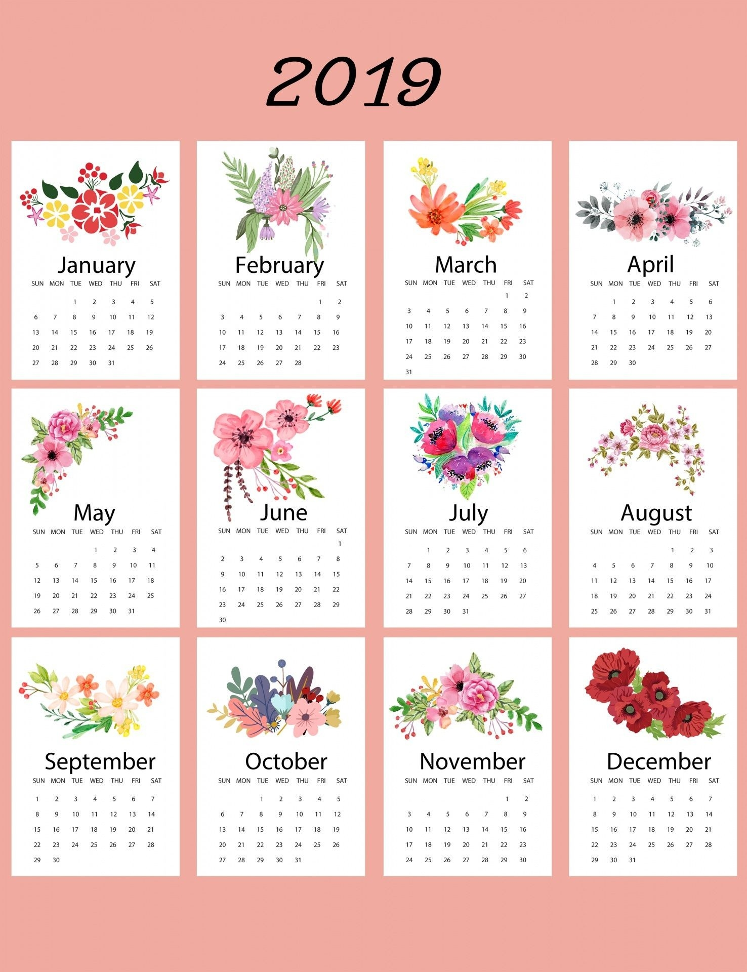 2019 Calendar Floral Template | Calendar 2019 Printable-Template For Calendars With Flowers