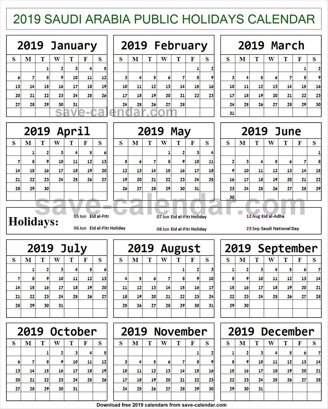 2019 Calendar Holidays Saudi Arabia Printable | Holiday-Saudi Bank Holidays 2020