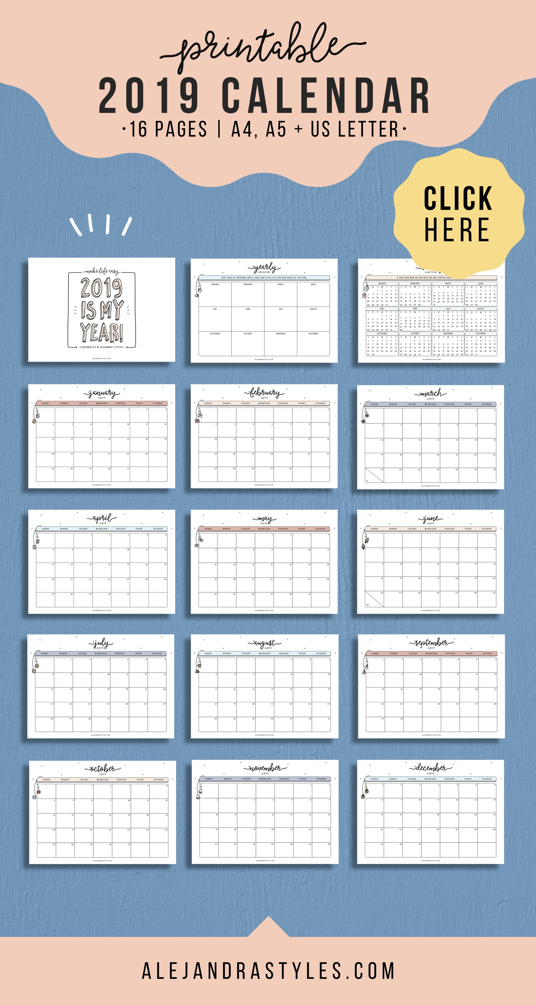 2019 Calendar Printable Planner For Desk Or Wall | Monday-At A Glance Monthly Calendar Printable
