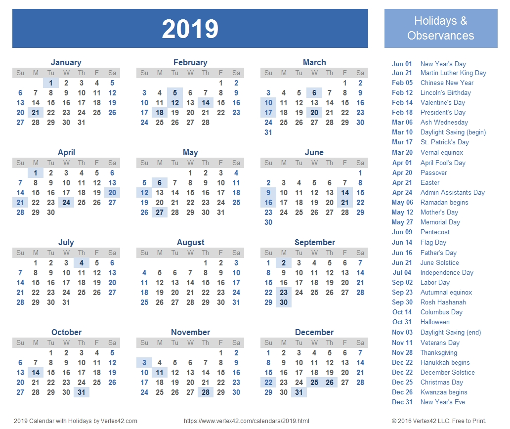 2019 Calendar Templates And Images-Calendar Template By Vertex42