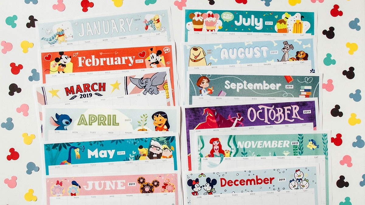 2019 Printable Calendar Featuring Disney Art | Disney Family-Disney Printable Calendar 2020 Monthly
