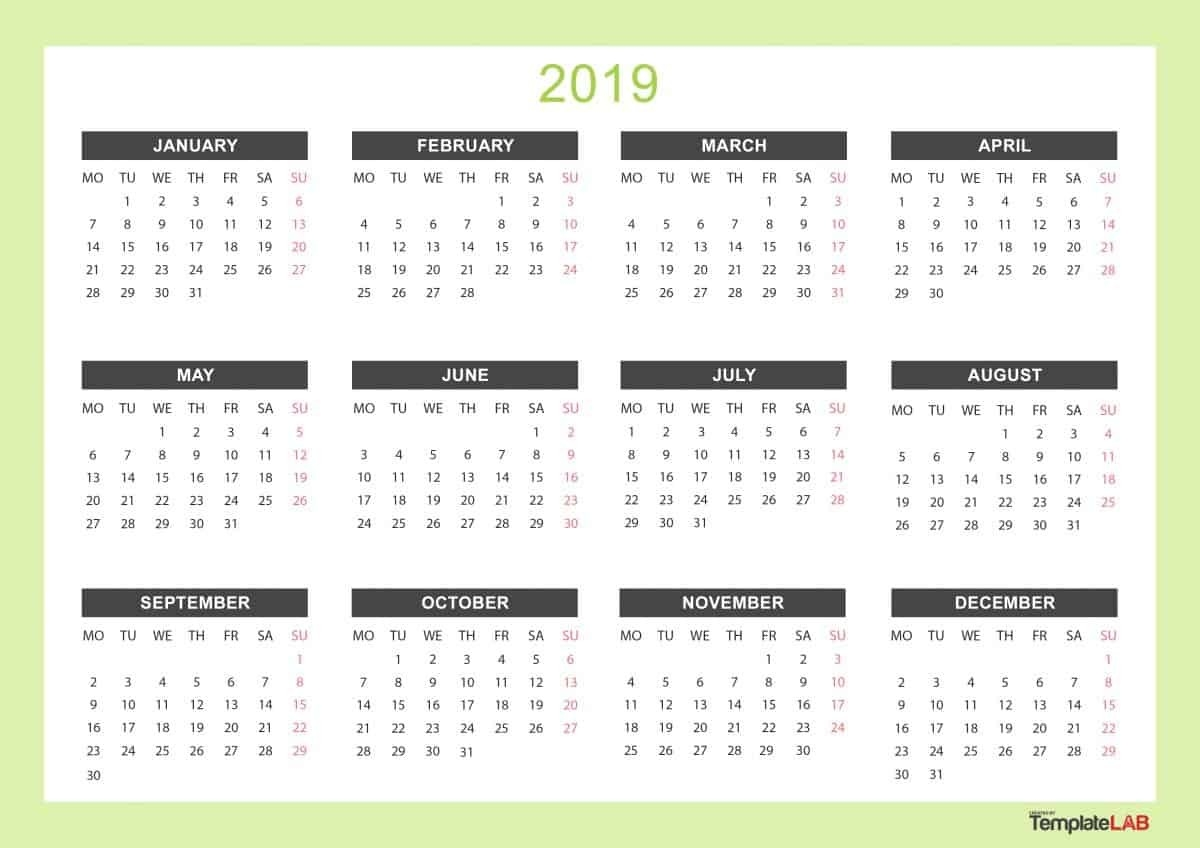 2019 Printable Calendars [Monthly, With Holidays, Yearly] ᐅ-Monthly Goal Calendar Template