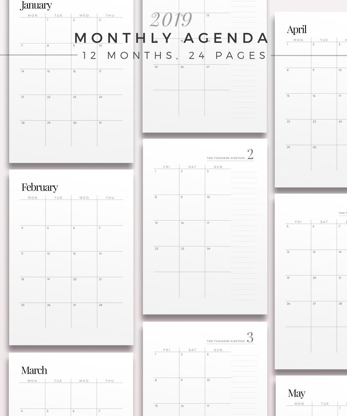 2019 Two Page Monthly Planner Printable Planner Inserts-Free Two Page Monthly Planner Templates