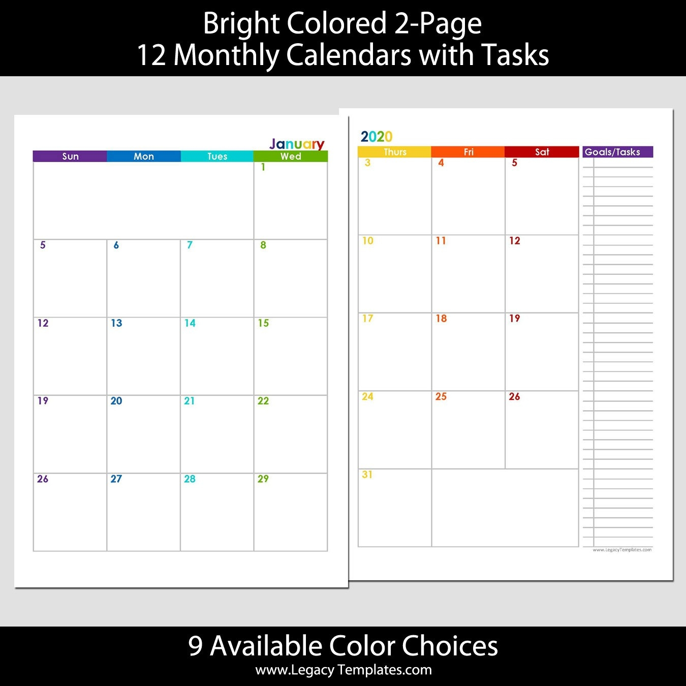 2020 12-Months 2-Page Calendar – A5 | Legacy Templates-2 Page Monthly Calendar Template 2020