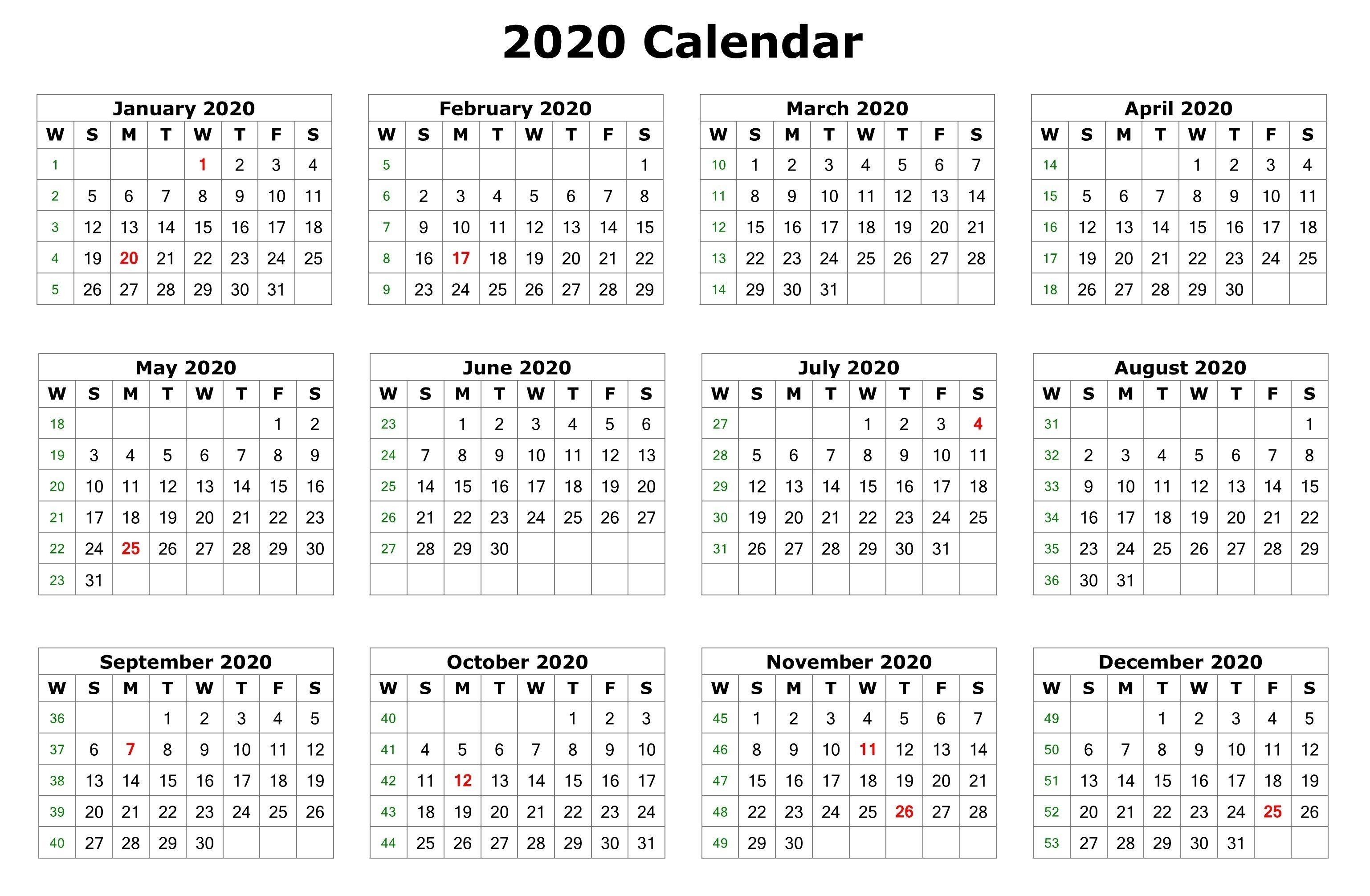 2020 12 Months Calendar Printable | Printable Calendar 2020-Monthly Print Calendars Templates 2020 Multiple Months Per Page