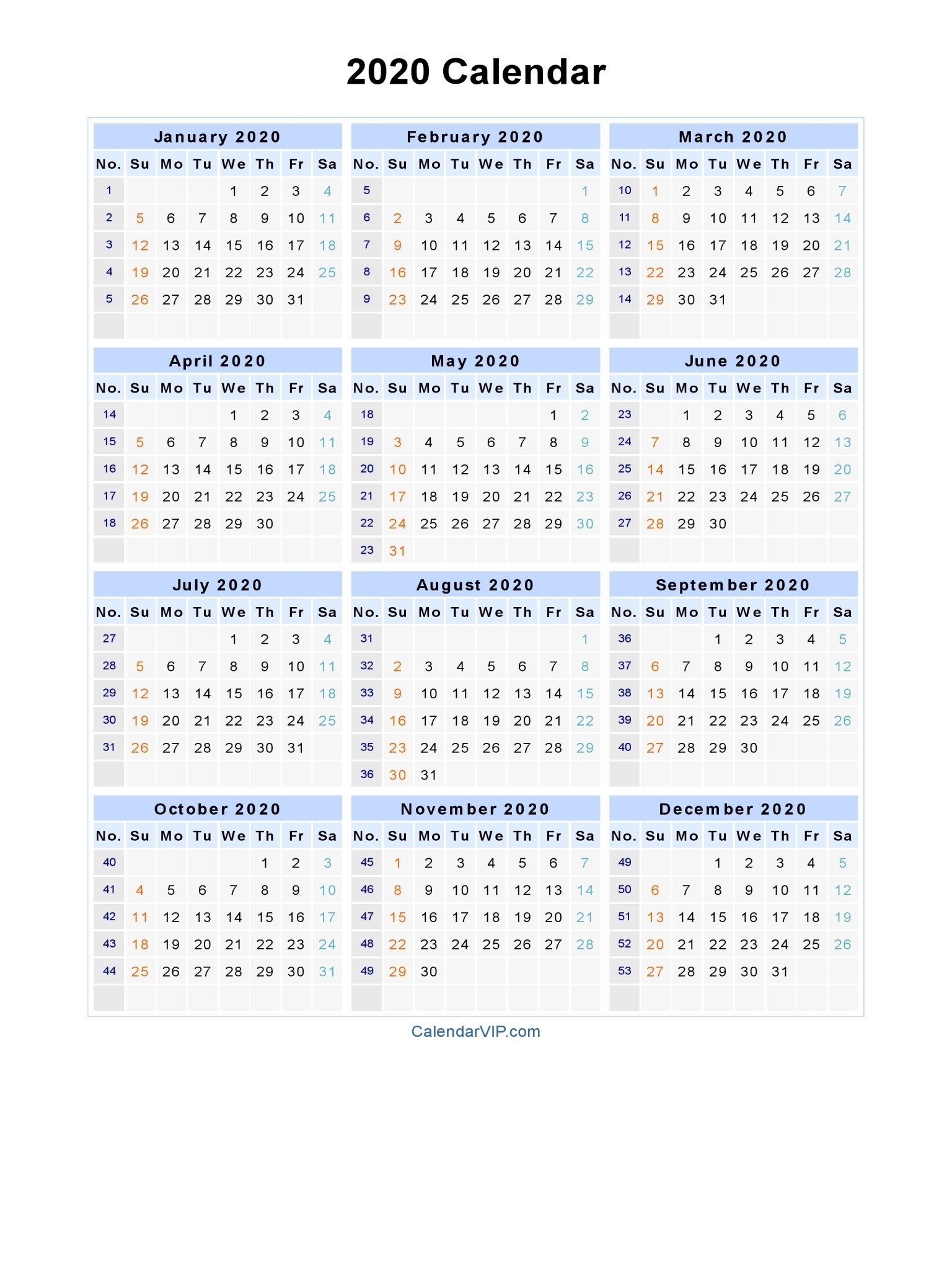 2020 Calendar – Blank Printable Calendar Template In Pdf-Monthly Calendar Printable 2020 Portrait Monday Start