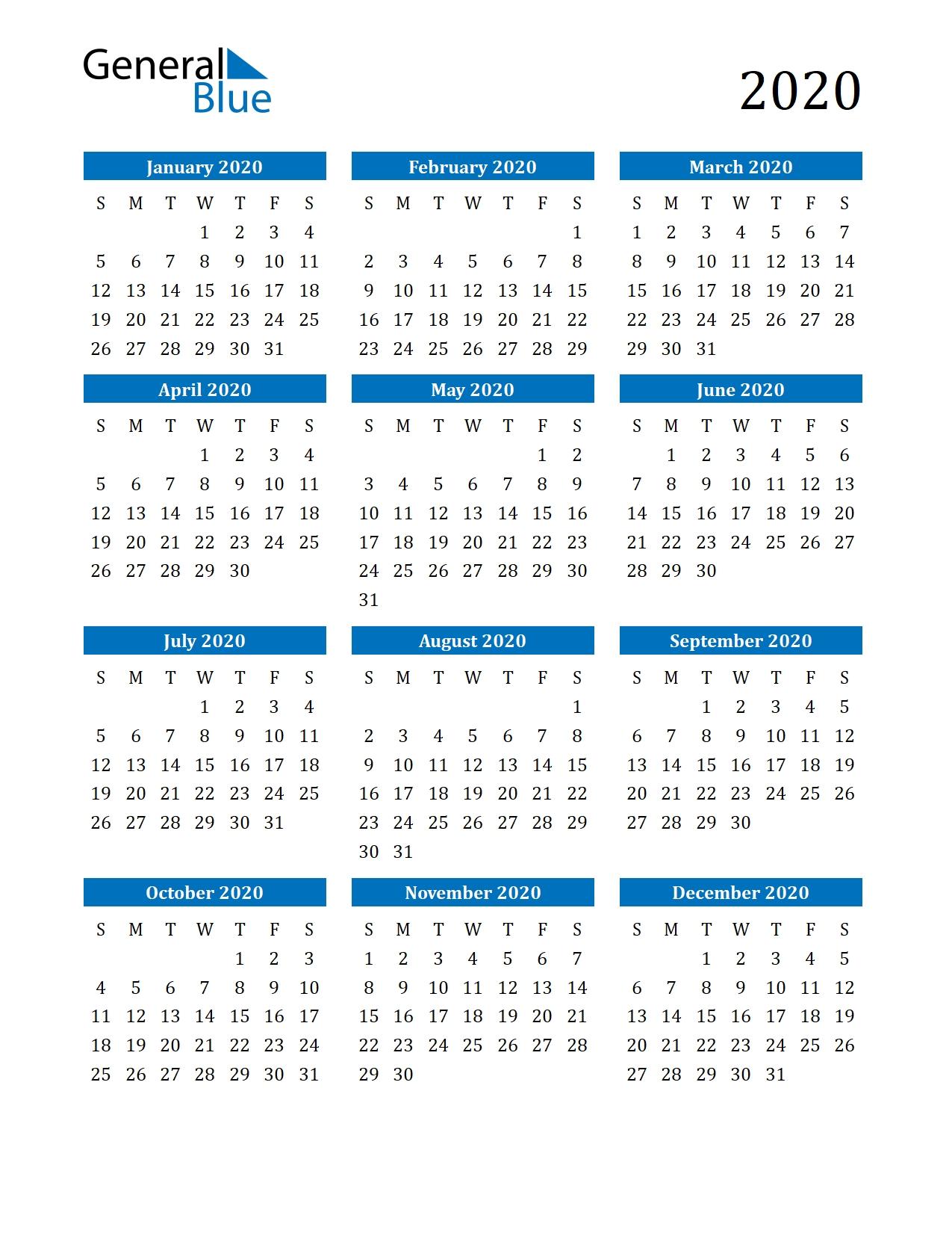 2020 Calendar (Pdf, Word, Excel)-Microsoft Word Calendar Template 2020 Edit