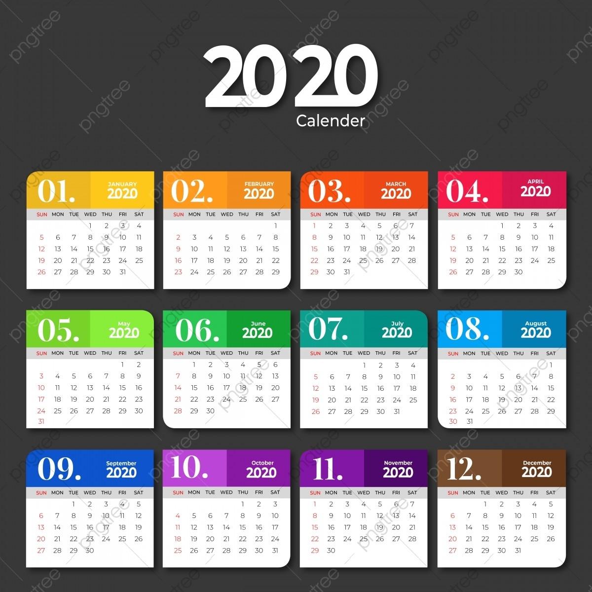 2020 Calendar Template Design With Solid Colors, 2020-2020 Calendar Template For Illustrator