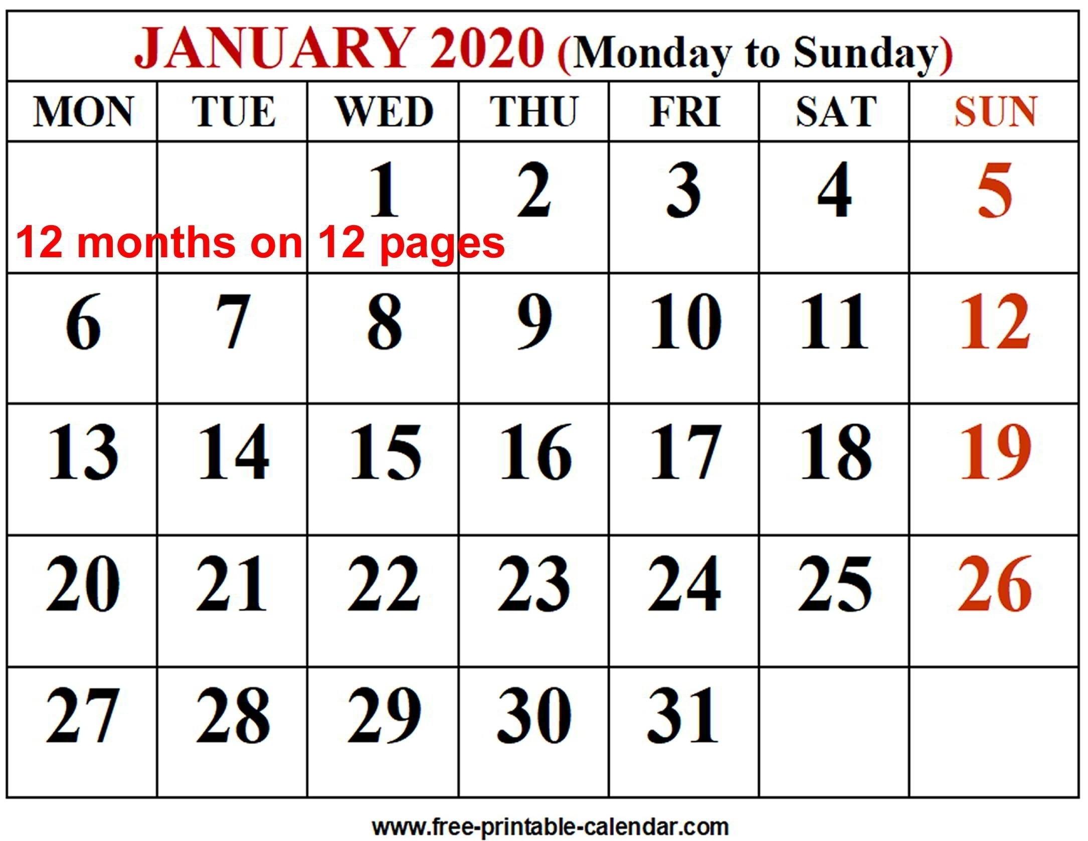 2020 Calendar Template – Free-Printable-Calendar-Monthly-Monthly Calendar Printable 2020 Portrait Monday Start